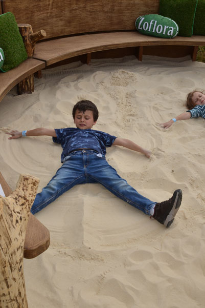 Circular seating and sandpit area